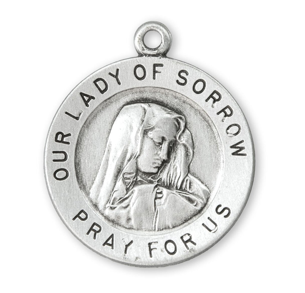 Sterling Silver Sorrowful Mother Medal Pendant On Chain