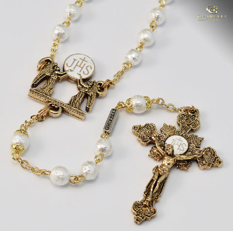 Holy Communion Gold Plated Rosary By Ghirelli