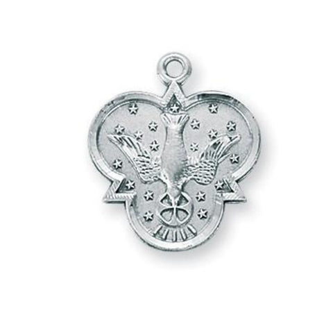 Holy Spirit Dove Sterling Silver Medal Pendant On Chain Confirmation Gift