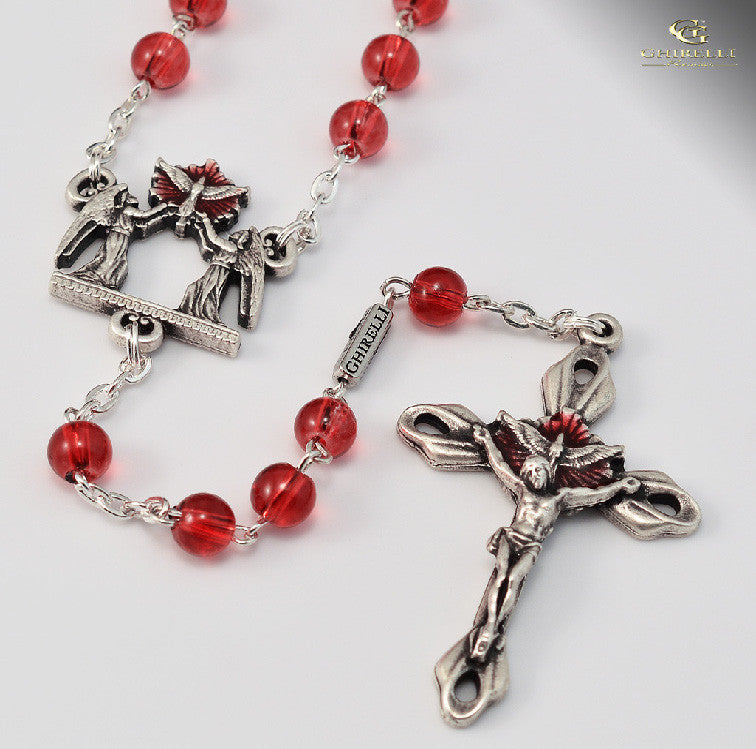Holy Confirmation Silver Plated Rosary By Ghirelli