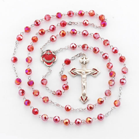 Ruby Confirmation Pewter Rosary With Holy Spirit Dove