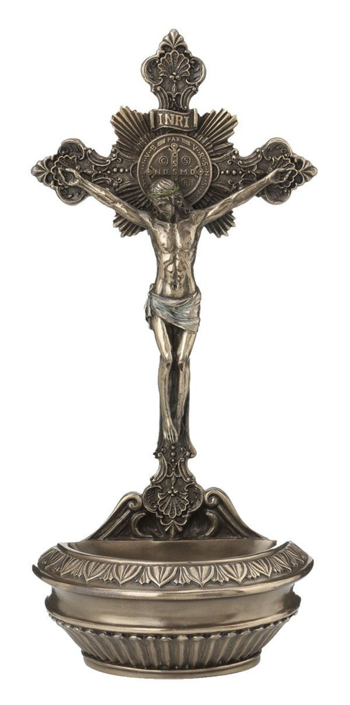 Jesus Crucifix Holy Water Font For Table or Wall Use