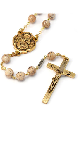 Saint Joseph Gold Plated Rosary By Ghirelli
