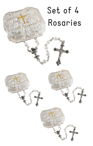 Set of 4 White First Communion Rosaries