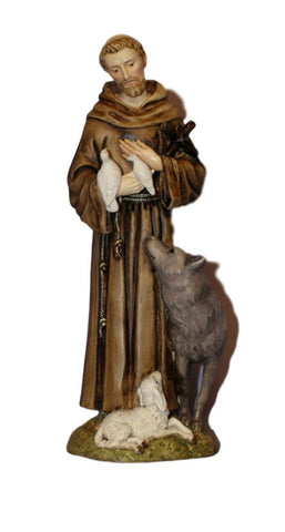 St Francis With Wolf Statue Hand Painted Veronese Collection