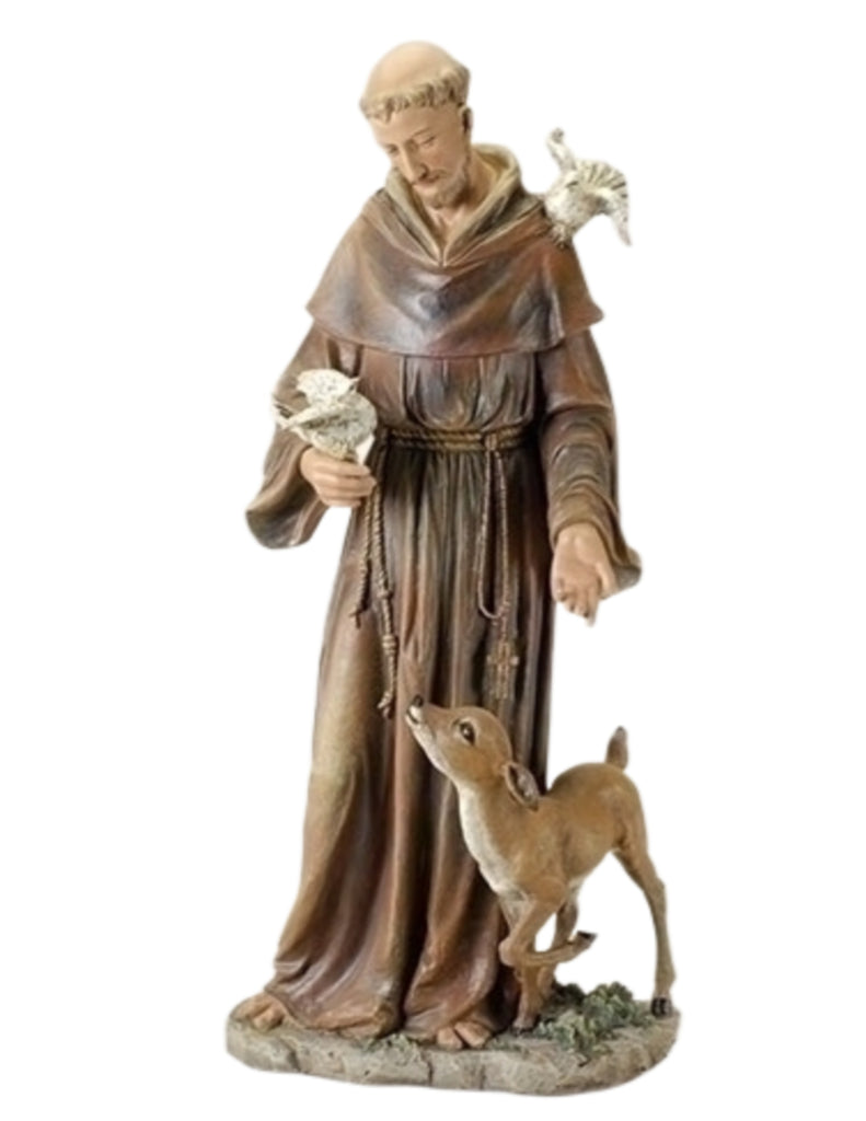 "Saint Francis With Deer And Bird Large 36.5"" Tall."