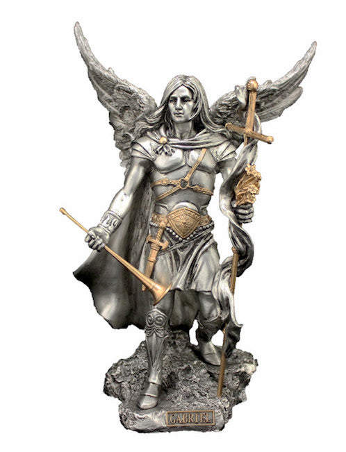 "Archangel Gabriel Statue Pewter Style Veronese Collection Large 9"" Tall"