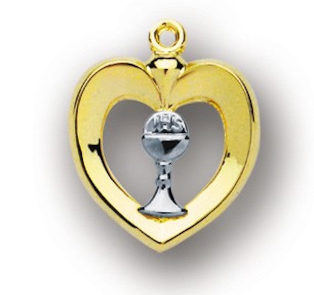 Gold Over Sterling Silver Heart Pendant With Chalice On Chain