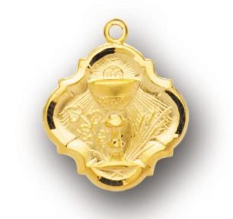 Communion Chalice With Wheat Medal On Chain Gold Over Silver