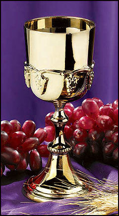 Gold Plated Communion Cup With Grapes
