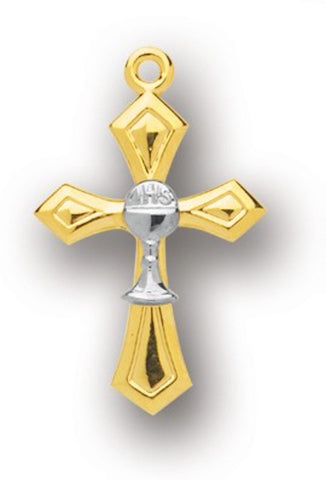 Gold Over Sterling Silver Cross With Chalice On 18 inch Chain