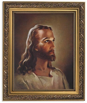 Head Of Jesus Print In Ornate Gold Frame With Glass By Sallman