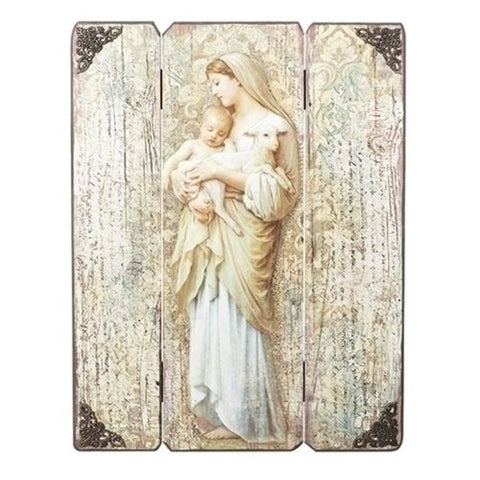 Madonna And Child Wooden Pannel Wall Plaque 17 Inch Tall