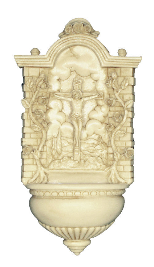 Antiqued Alabaster Crucifixion Holy Water Font