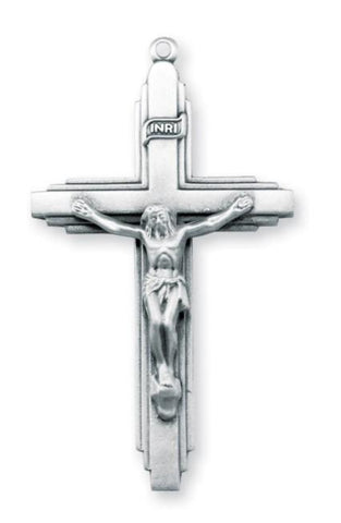 Sterling Silver Triple Level Crucifix On Chain