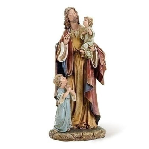 "Jesus with the Little Children Christian Statue 10"" Tall"