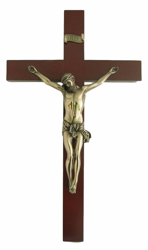 Jesus Wooden Wall Crucifix With Bronze Corpus 14 Inches Tall