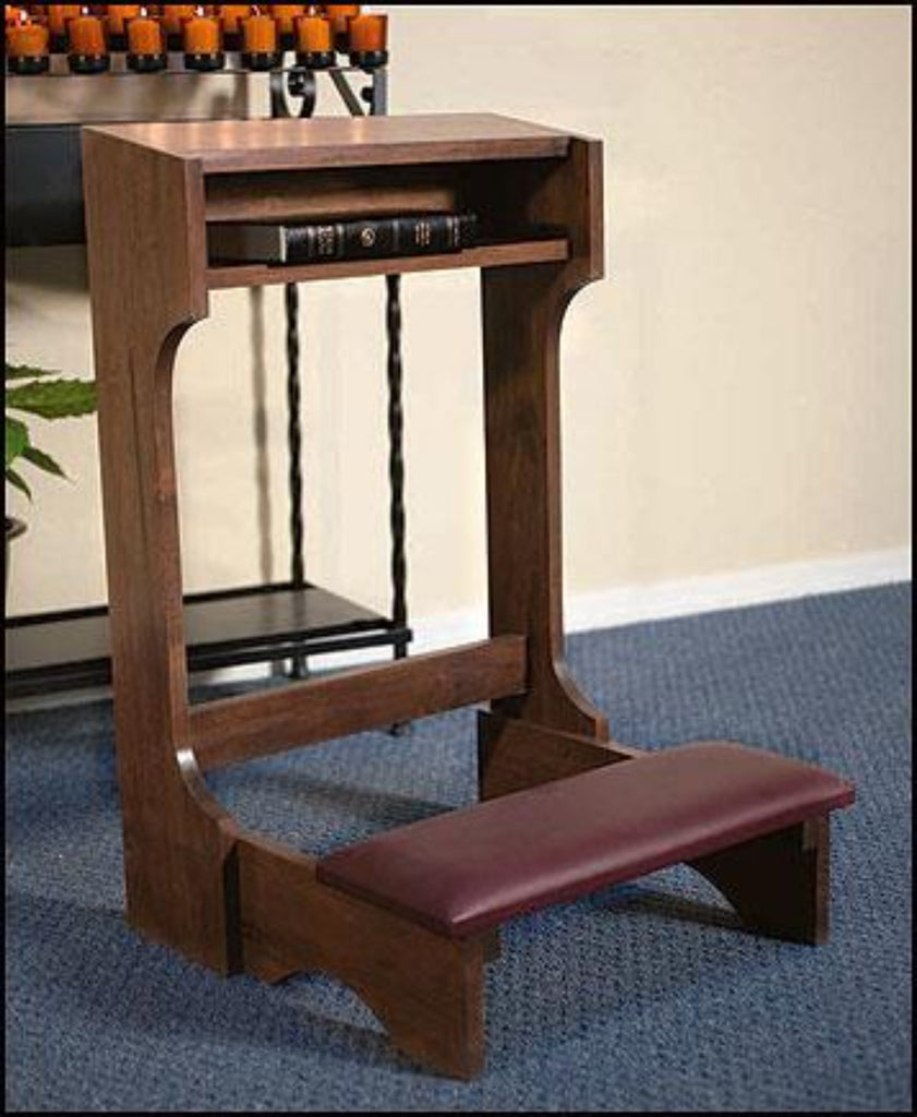 wooden prayer room kneeler with padding
