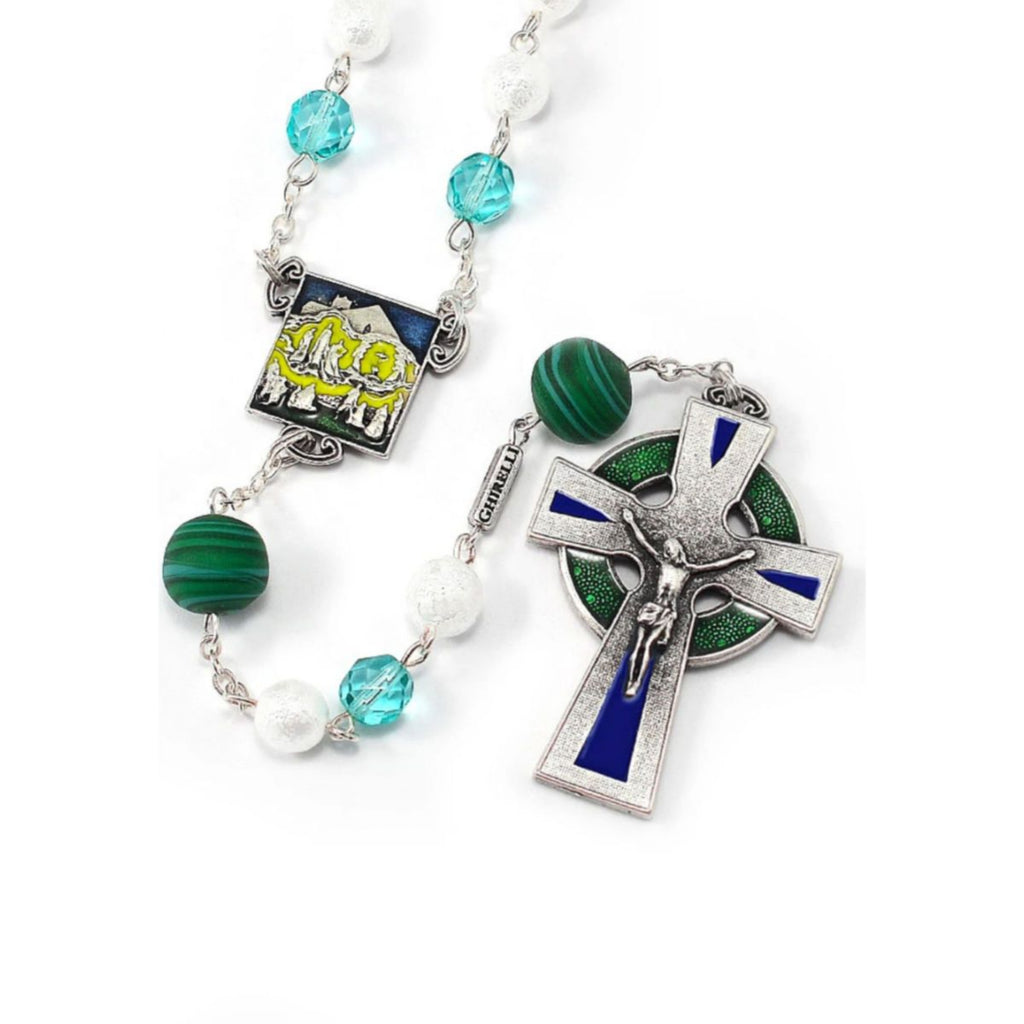 Our Lady of Knock Queen of Ireland Rosary with Murano Glass By Ghirelli