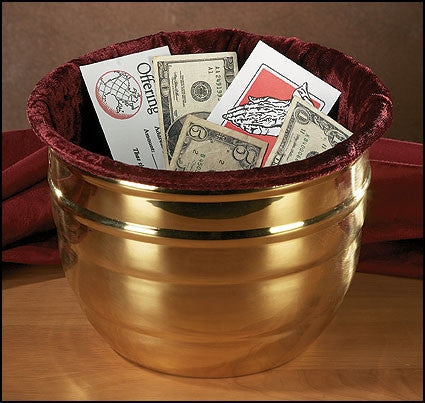 Brass Offering Pot With Velvet Liner For Church Collections
