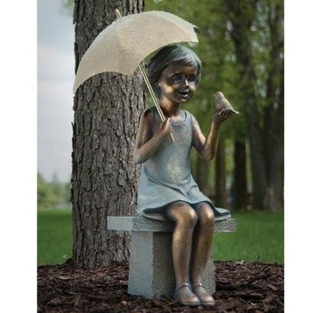 Little Girl With Umbrella Sitting On Bench Garden Statue