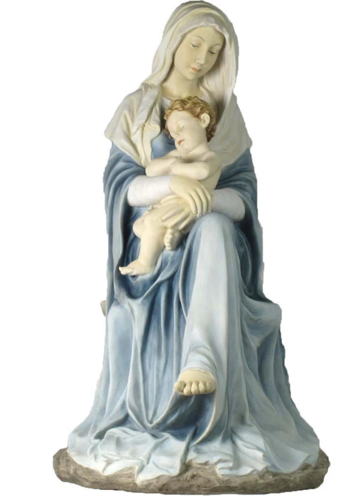 "Seated Madonna and Child Jesus Church Statue  26"" Tall  Hand Painted In Soft Pastels"