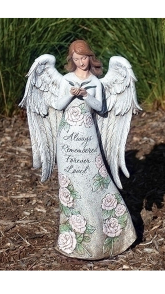 Memorial angel with dove statue