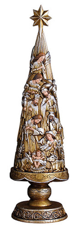 Nativity Christmas Tree Small Size Metallic Style