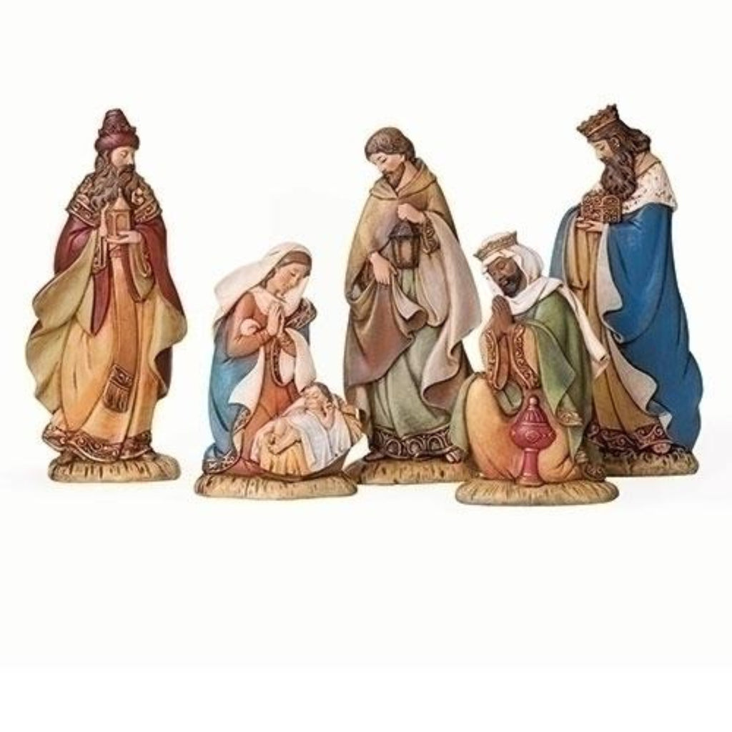 5 piece nativity scene with flat figures Christmas decoration
