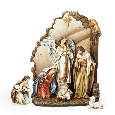 Baby Jesus Nativity Scene With Back Wall 7 Piece Set Joseph Studio