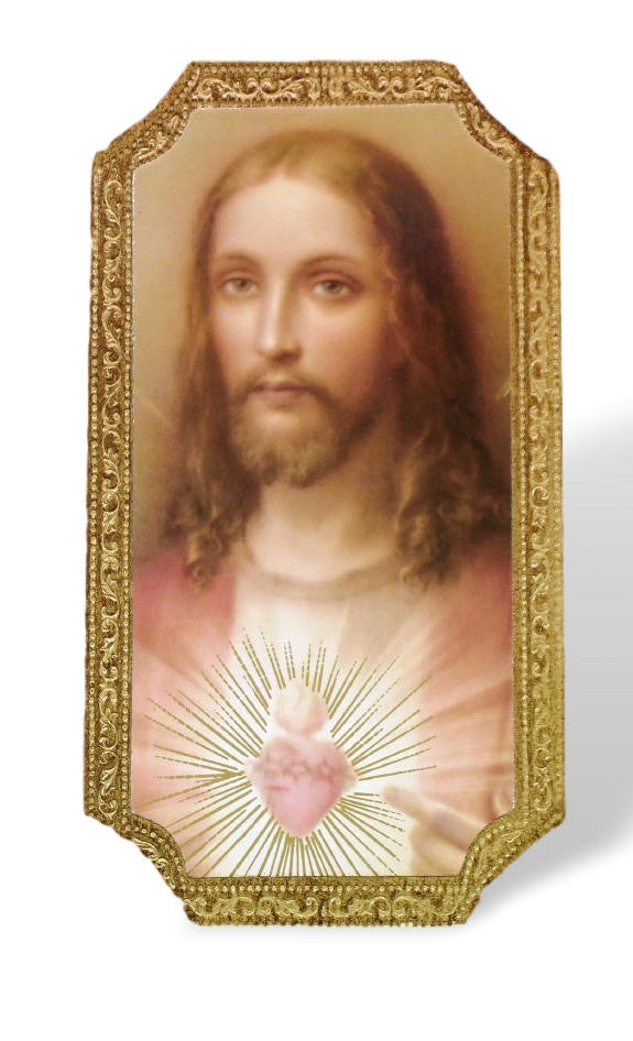 Sacred Heart Of Jesuus Florentine Icon Plaque