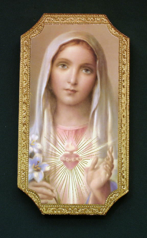 Immaculate Heart of Mary Florentine Icon Plaque Hand Made In Italy