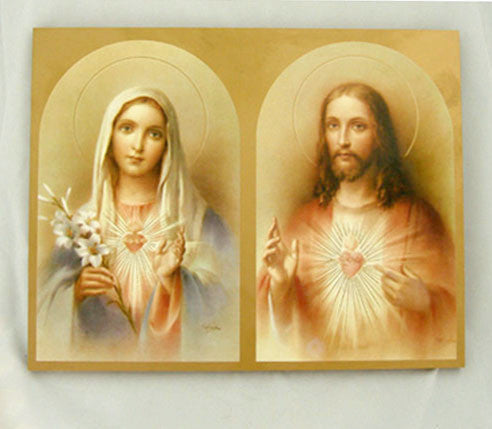 Sacred Heart of Jesus and Immaculate Heart of Mary Icon Plaque