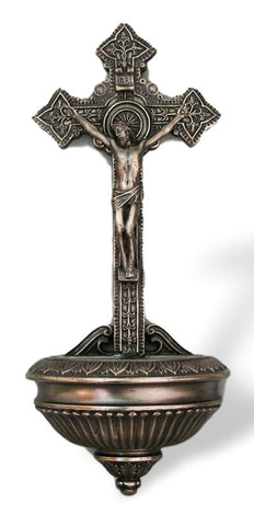 "Ornate Crucifixion Of Jesus Holy Water Font 11"" Tall"