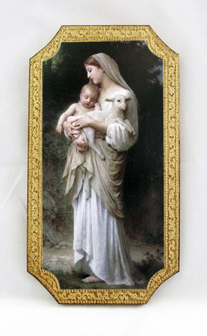 Innocence by Bouguereau Madonna and Child Florentine Icon Plaque