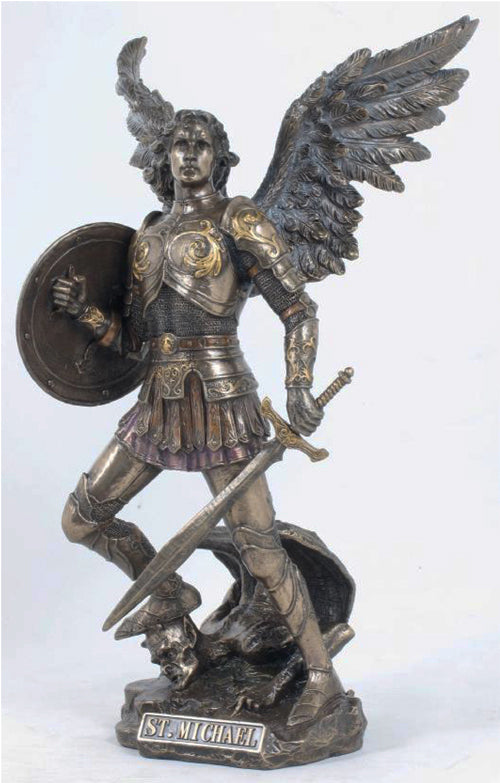 Saint Michael Fighting Satan Bronze Style Statue  Veronese Collection