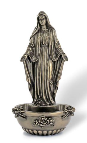 Madonna Our Lady of Grace With Roses Holy Water Font  Bronze Style Finish