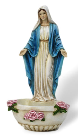 Madonna Our Lady of Grace Holy Water Font With Roses