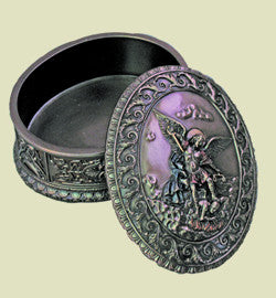 Archangel Saint Michael Rosary Box in Cold cast Bronze