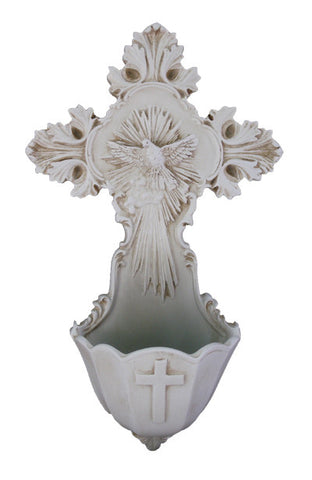 Antiqued Ivory Holy Spirit Dove Jesus Cross Holy Water Font