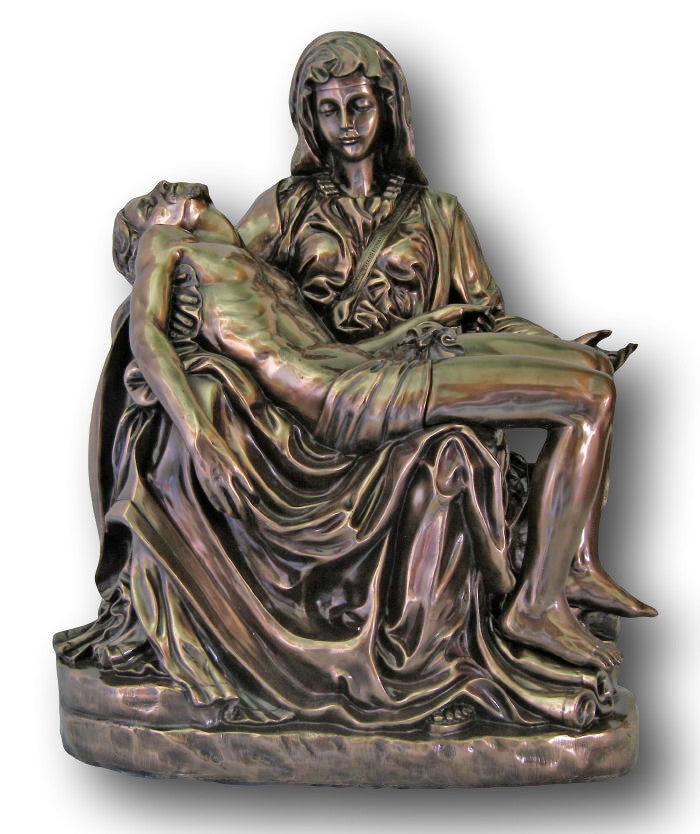 "Pieta Statue Blessed Mother Holding Crucified Jesus  Indoor Outdoor 25"" Tall"