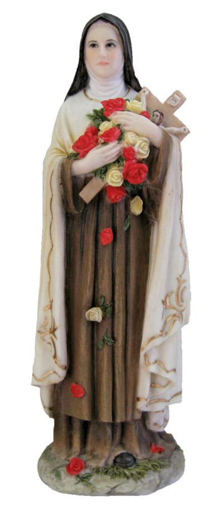Saint Theresa with roses and cross figure hand painted full color