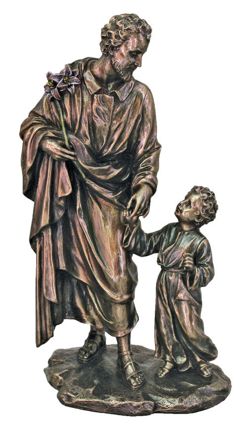Saint Joseph With Child Jesus Bronze Style Statue