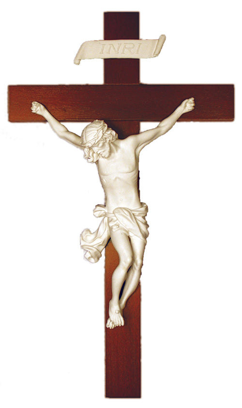 Baroque Style Wall Crucifix Hand Painted Alabaster Made In Italy
