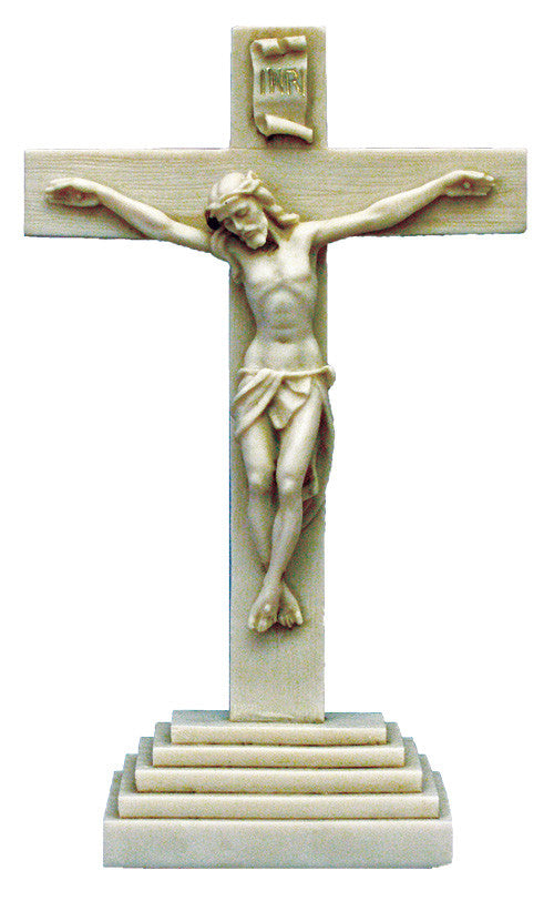 Antiqued Alabaster Standing Altar Crucifix Made in Italy