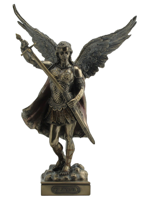 A Veronese St. Michael without Devil statue in lightly hand-painted cold cast bronze, 13.5inches.
