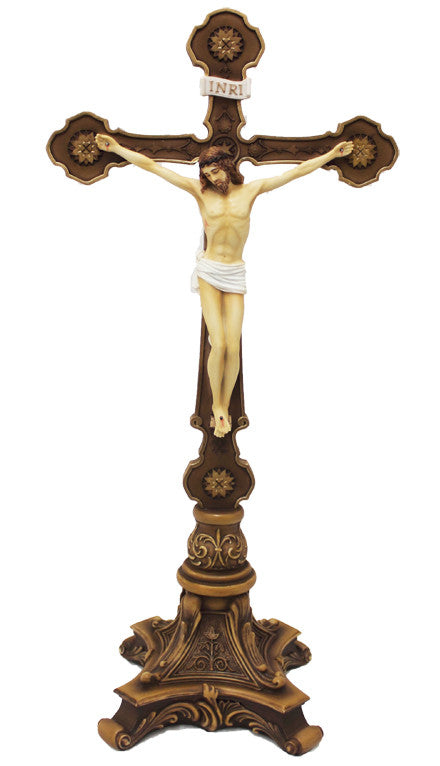 Standing Altar Crucifix Hand Painted - Veronese Collection
