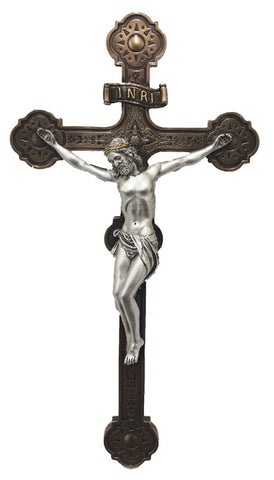 Jesus Wall Cross Pewter Style Corpus Two Tone Cross  Veronese collection