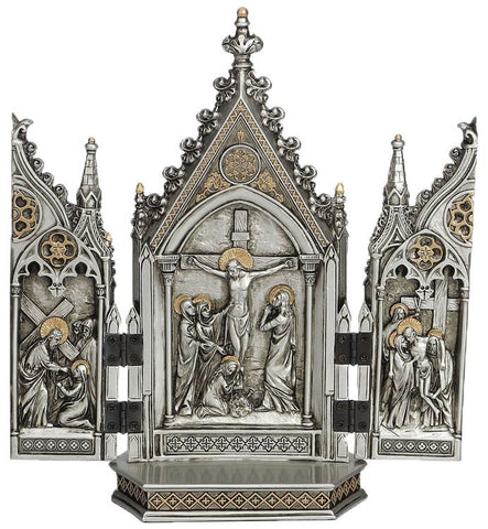 Jesus Crucifixion Triptych Statue Pewter Color With Gold Accents