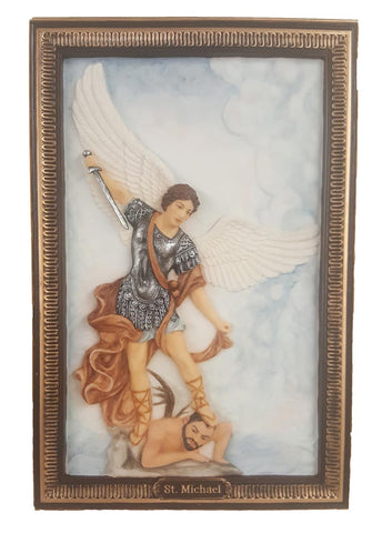 Archangel Saint Michael Hand Painted Plaque For Wall or Table